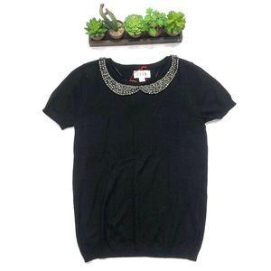 NEW Short Sleeve Black Sweater with Rhinestones S
